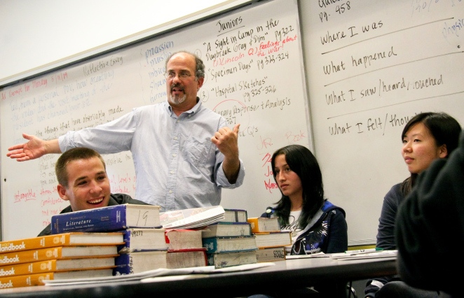 "Michael Steinman, a teacher at Pomona's Village Academy High School, inspired his students to create a video reflection on the economic crisis called ""Is Anybody Listening?"" From left to right, students Chris Schultz, Maritssa Barber, and Joohee Sohn were featured in the now-famous video that earned them a visit from President Barack Obama."